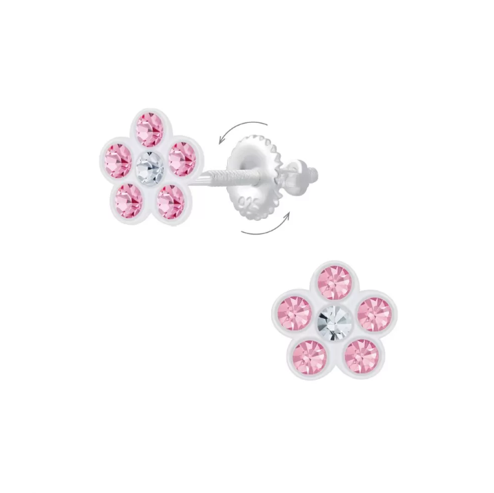 Baby and Children's Earrings:  Sterling Silver Pink Crystal Flower Screw Backs
