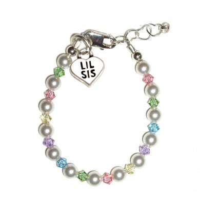 Baby Bracelets:  Sterling Silver, Pearl Bracelets with Lil Sis charm