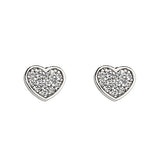 Children's Earrings:  Sterling Silver CZ Hearts with Screw Backs