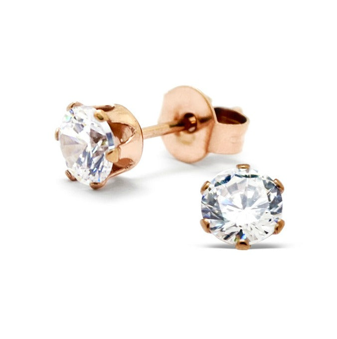 Children's, Teens' and Mothers' Earrings:  Rose Gold over Surgical Steel Clear CZ Stud Earrings