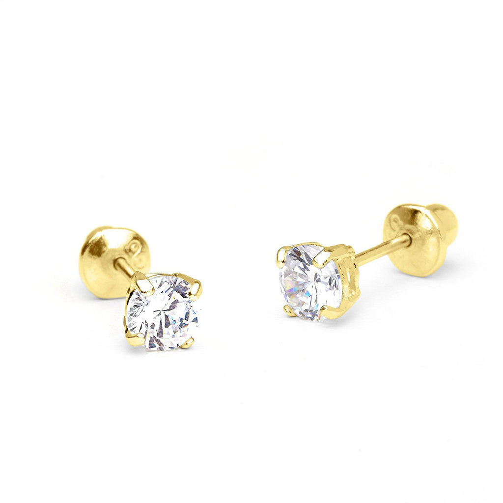 Baby and Toddler Earrings:  10k Yellow Gold 3mm Solitaire CZ Screw Back Earrings with Gift Box