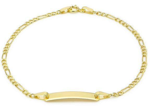 Children's Bracelets:  9K Gold Figaro ID Bracelets with Complimentary Gift Boxes