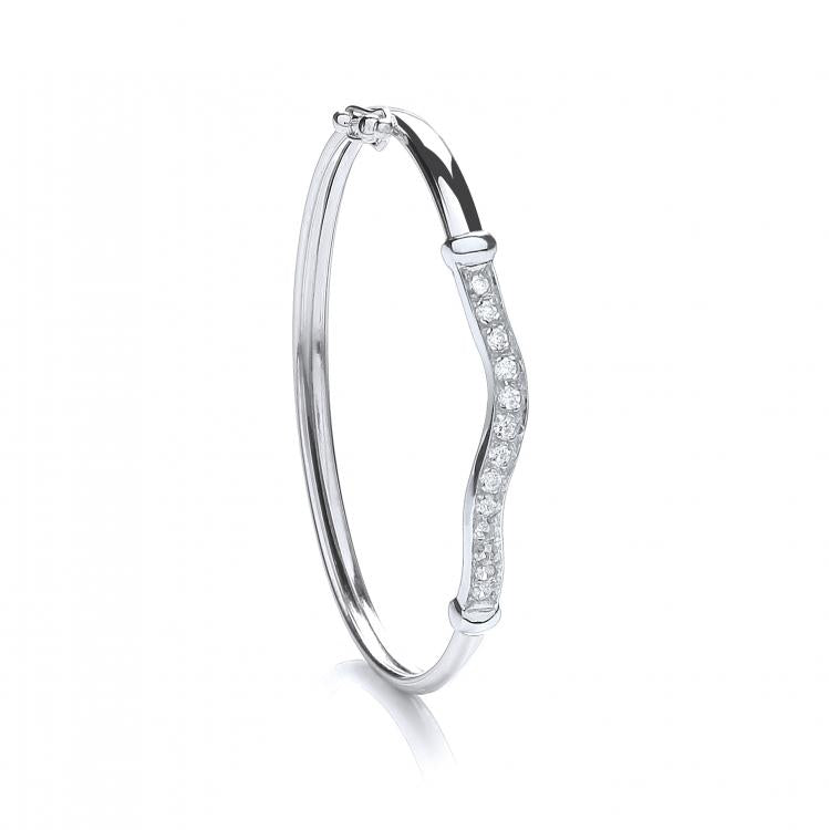 Baby and Children's Bracelets:  Sterling Silver, CZ Christening Bangle with Gift Box