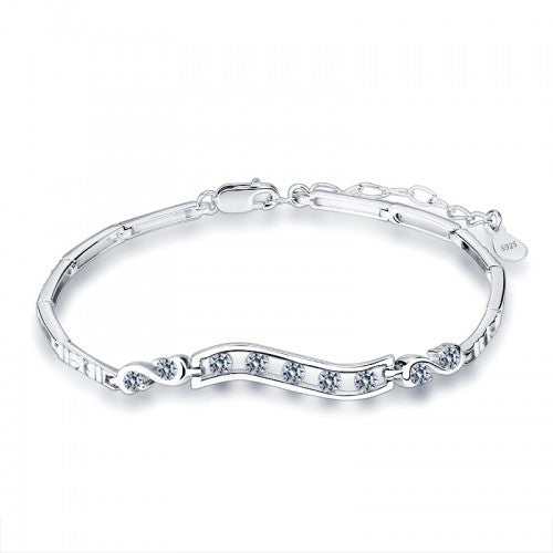 Children's and Teens' Bracelets:  Sterling Silver, White CZ Bangle Bracelets