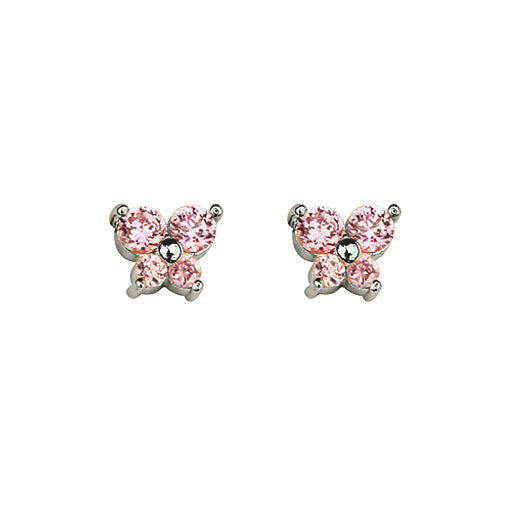 Baby and Children's Earrings:  Sterling silver, Pink CZ Butterflies with Safety Screw Backs