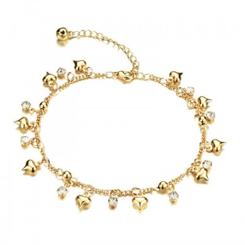 Children's and Teens' Anklets:  Titanium Gold IP Anklets with Puffed Hearts and CZ with Gift Box