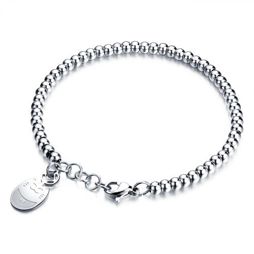 Children's/Teens'/Mothers' Bracelets/Anklets:  Titanium Ball Bracelet with Disc Engraved with Cat