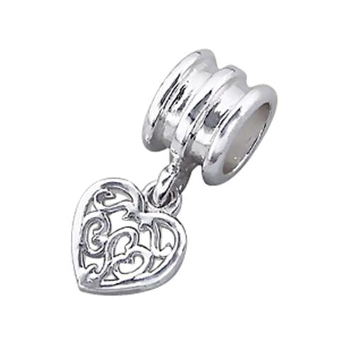 Mothers' and Children's Beads:  Sterling Silver European style Filigree Heart Beads