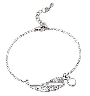 Children's and Teens Bracelets:  Sterling Silver Angel-Wing Children's Bracelets with Heart Charm
