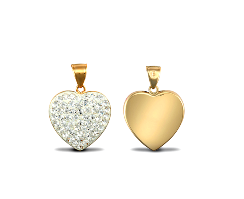Childrens and Teens' Pendants:  9k Gold, White Crystal Hearts with Gift Box