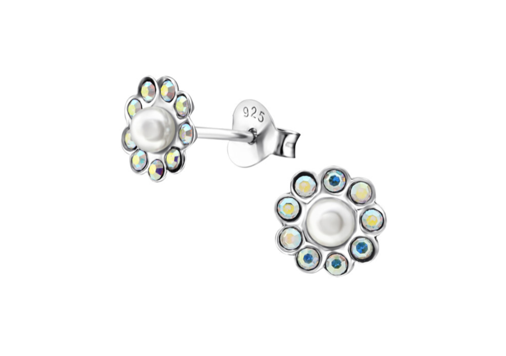 Children's Earrings:  Sterling Silver Pearl/CZ Flower Earrings