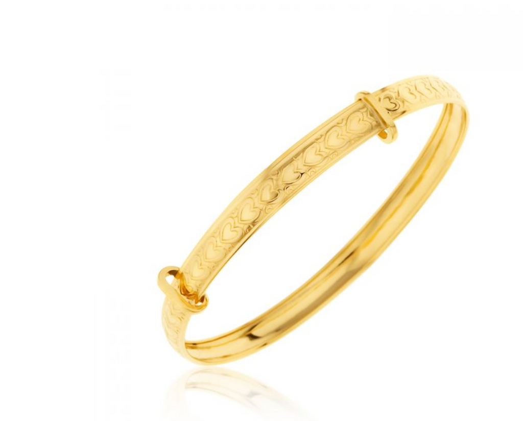 Baby and Children's Bangles:  9k Gold Embossed Hearts Bangles Age 1 - 4 with Gift Box