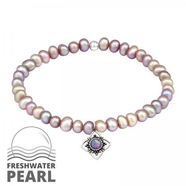 Children's, Teens'and Mothers' Bracelets:  Sterling Silver Lab Created Opal Charm on Baroque Freshwater Pearl Bracelets with Charm