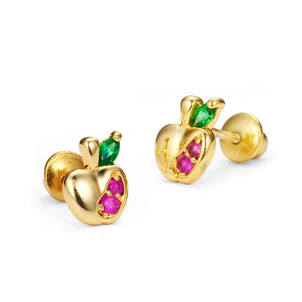 Baby and Children's Earrings:  Gold Plated CZ Apple Safety Screw Backs
