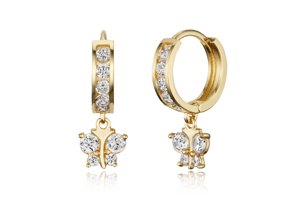 Children's Earrings:  14k Gold Plated Clear CZ Huggies with Butterflies
