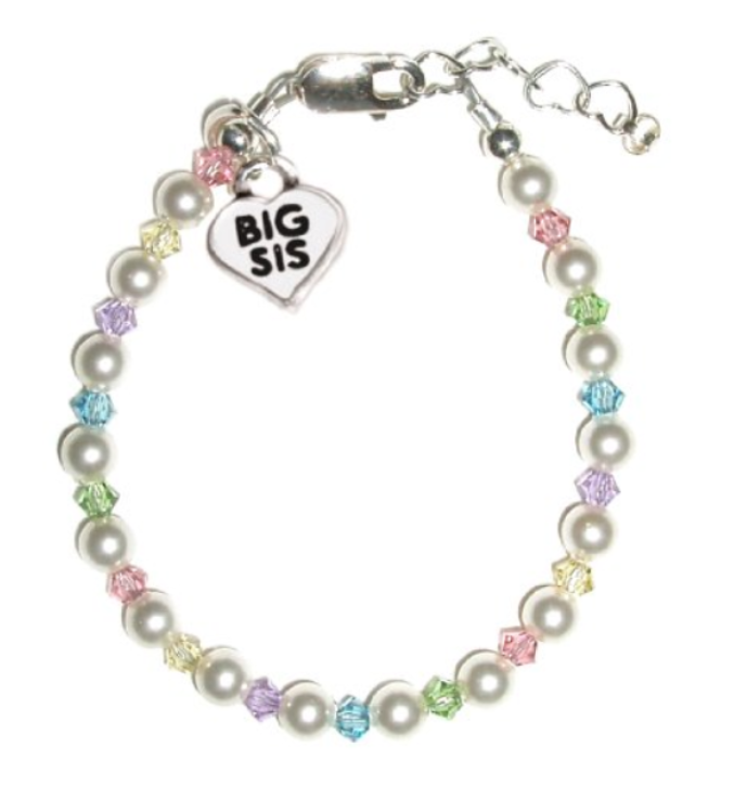 Children's Bracelets:  Sterling Silver, Pearl Bracelets with Big Sis Charm Large
