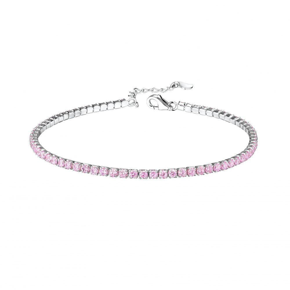 Children's and Teens' Bracelets:  Sterling Silver with 2mm Pink CZ Tennis Bracelets with Extension