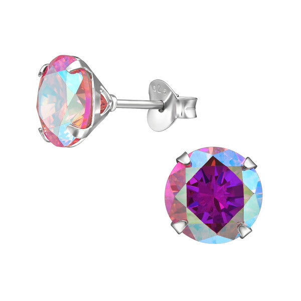 Mothers' and Teens' Earrings:  Sterling Silver Pink Aurora Borealis CZ Studs 8mm