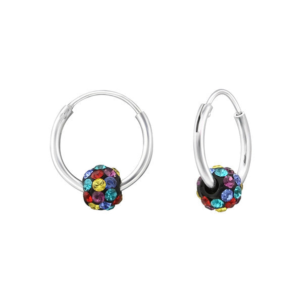 Baby and Children's Earrings:  Sterling Silver Hoops/Sleepers with Colourful Floating CZ Disco Balls