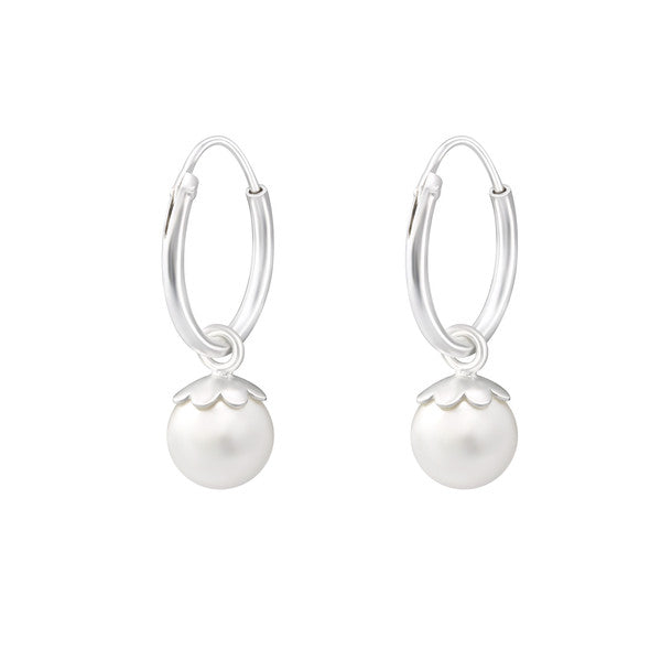 Children's Earrings:  Sterling Silver Sleepers with Ivory La Crystale Pearls