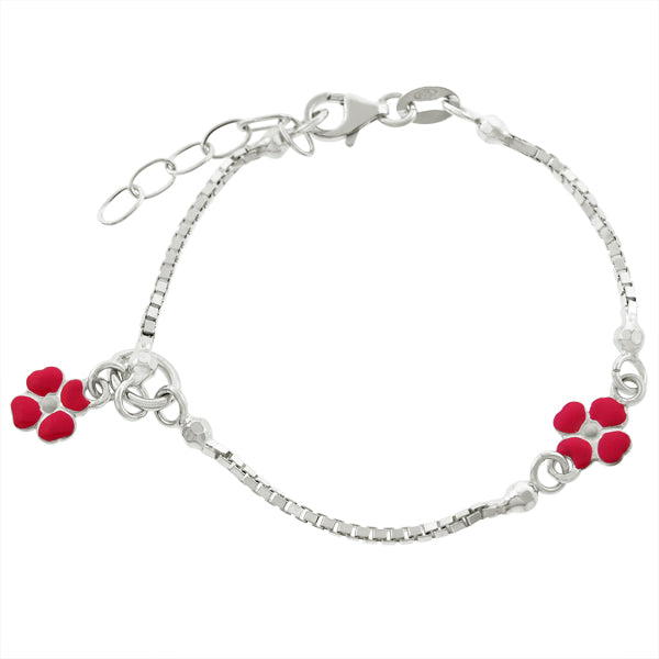 Children's Bracelets:  Sterling Silver Bracelets with Two Pink Enameled Flower charms