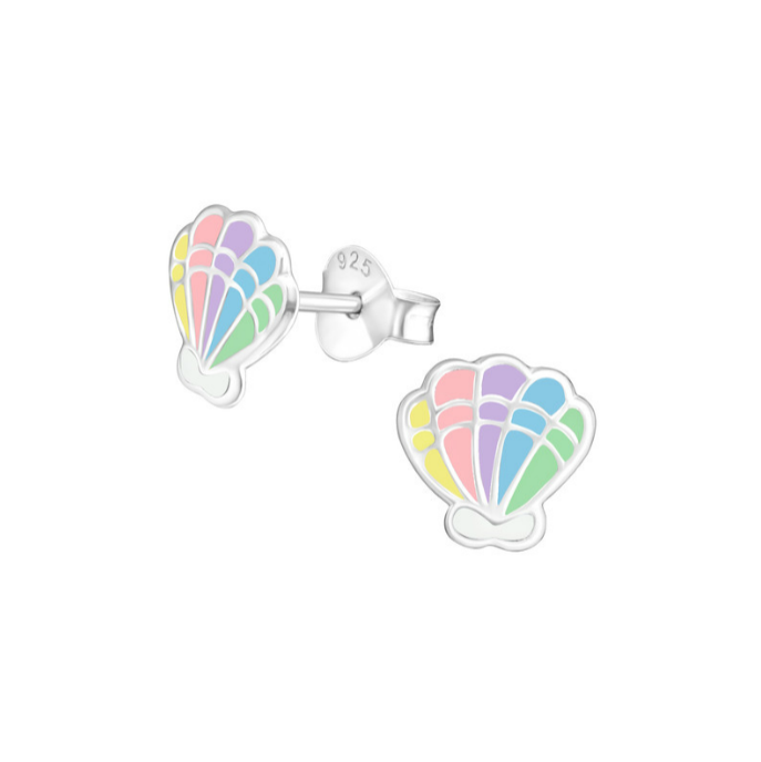 Children's Earrings:  Sterling Silver Colourfully Enamelled Clam Shell Earrings