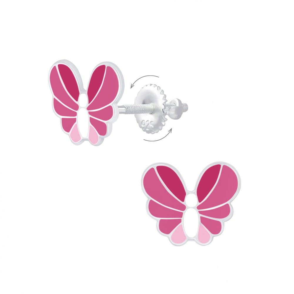 Childrens Earrings:  Sterling Silver Enamelled Butterfly Earrings with Screw Backs