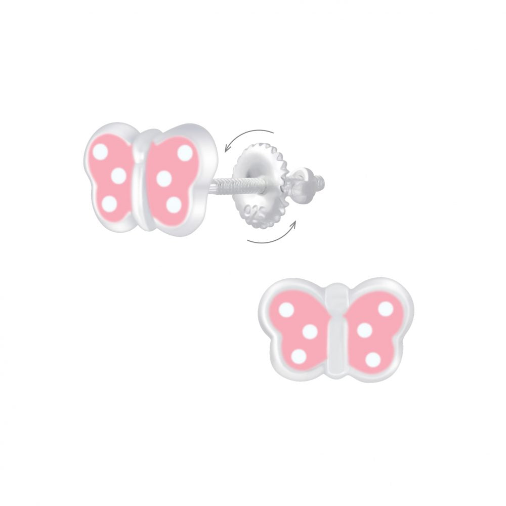 Baby and Children's Earrings:  Sterling Silver Pink Dotty Butterfly with Screw Backs