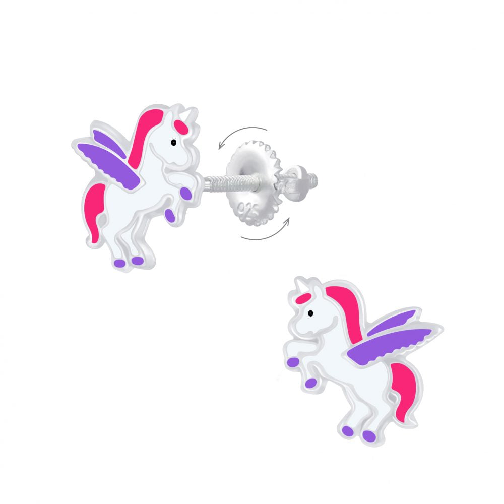 Childrens Earrings:  Sterling Silver Enamelled Pegasus Unicorn Earrings with Screw Backs
