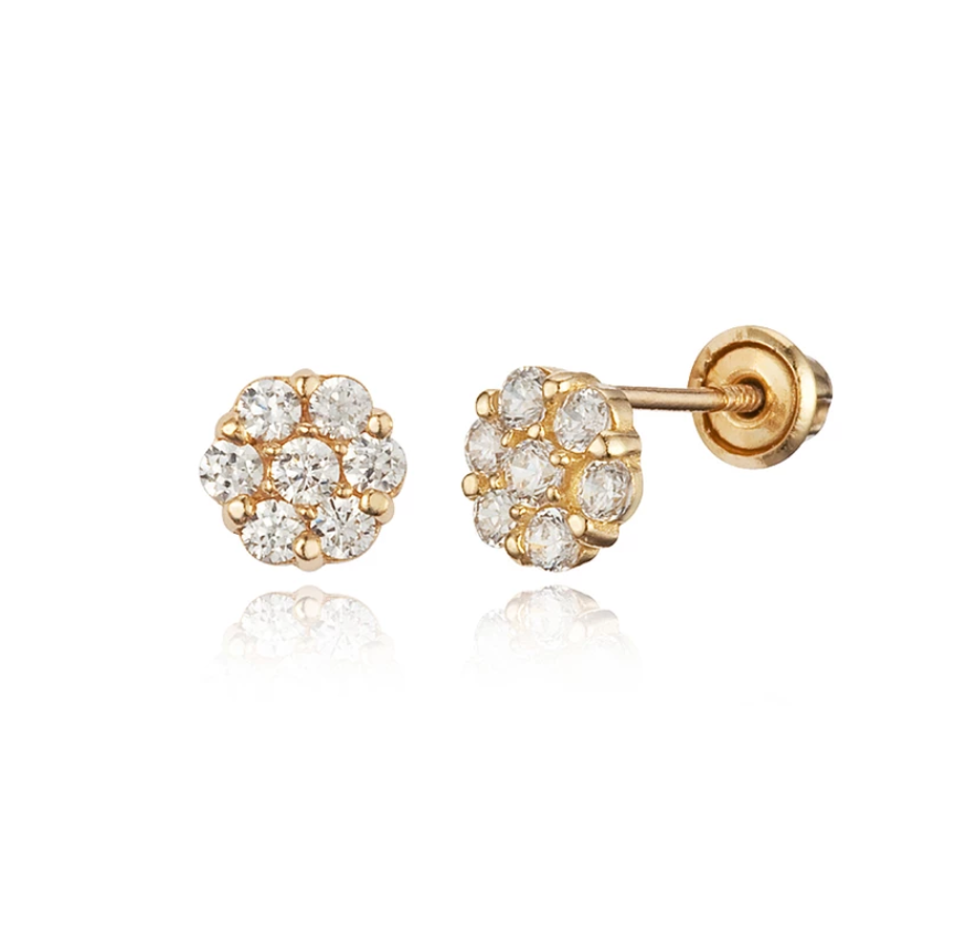 Baby Earrings:  14K Gold White CZ Clustered Flower Screw Backs with Gift Box