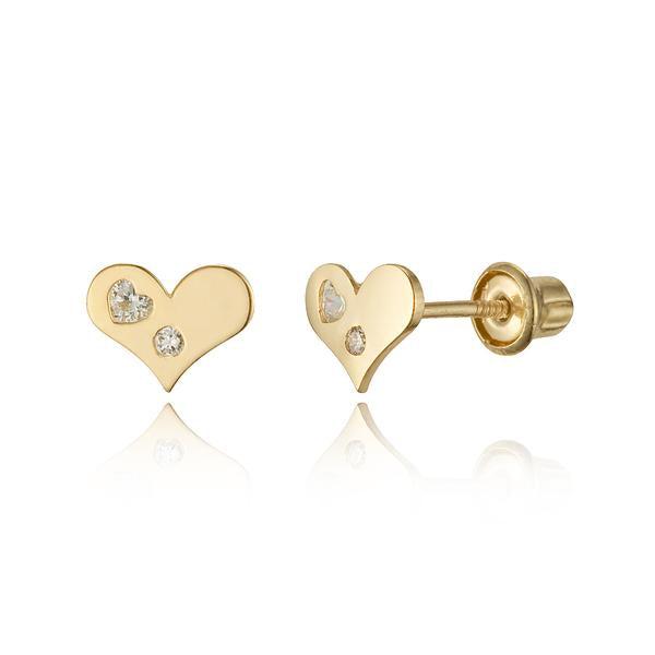 Baby Earrings:  14k Gold Heart on Heart CZ with Screw Backs with Gift Box