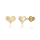 Baby and Children's Earrings:  14k Gold Heart on Heart CZ with Screw Backs with Gift Box