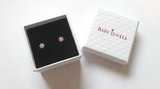 Baby and Children's Earrings:  14k Gold Blue CZ Hearts with Screw Backs and Gift Box