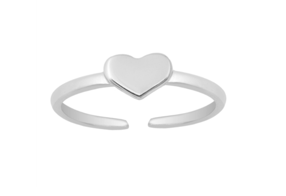 Children's Toe Rings:  Sterling Silver Adjustable Toe Ring with Heart