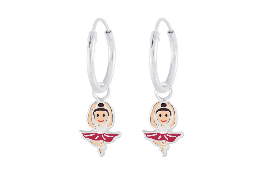 Children's Earrings:  Sterling Silver Sleepers with Ballet Dancer