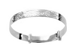 Baby Bangles:  Sterling Silver, Embossed Tribal Design Expanding Bangles for Newborn - 18 months