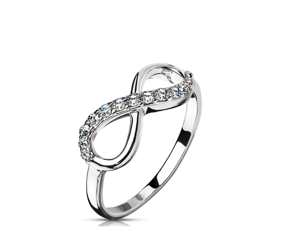 Children's and Mothers' Rings:  Rhodium Plated Surgical Steel Infinity Rings with CZ Size 7