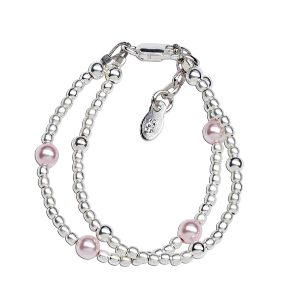 Children's Bracelets:  Sterling Silver Double Ball Bracelet with Pink Pearls Age 0 - 1