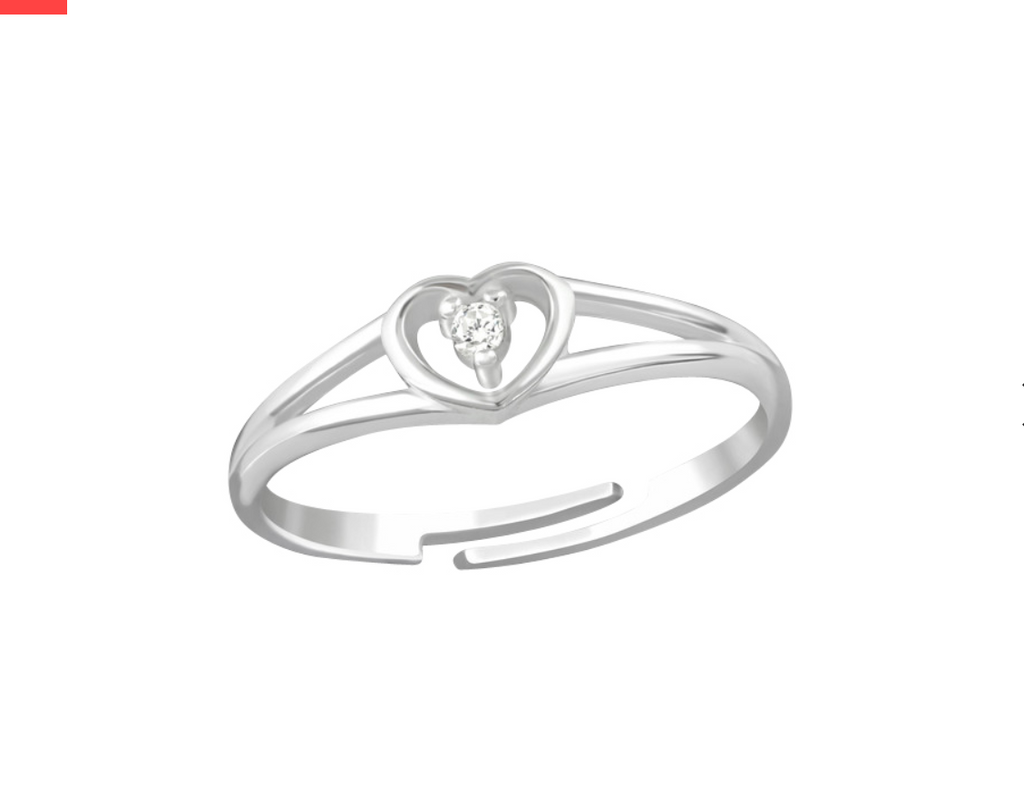 Children's Rings:  Sterling Silver Heart with CZ Rings Size 4.5