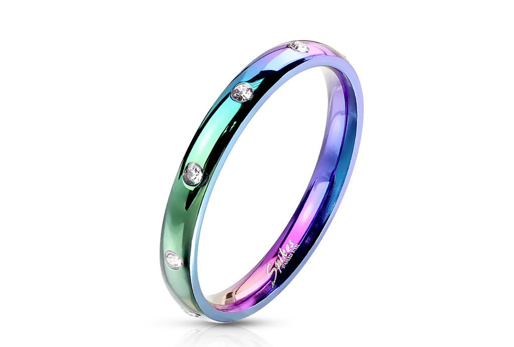 Children's and Teens' Rings:  Surgical Steel (Anodised) Rings, Studded with CZ Size 6