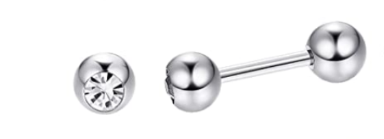 Baby and Children's Earrings:  Surgical Steel Reversible Bezel Set CZ Ball Studs with Ball Screw Backs 4mm