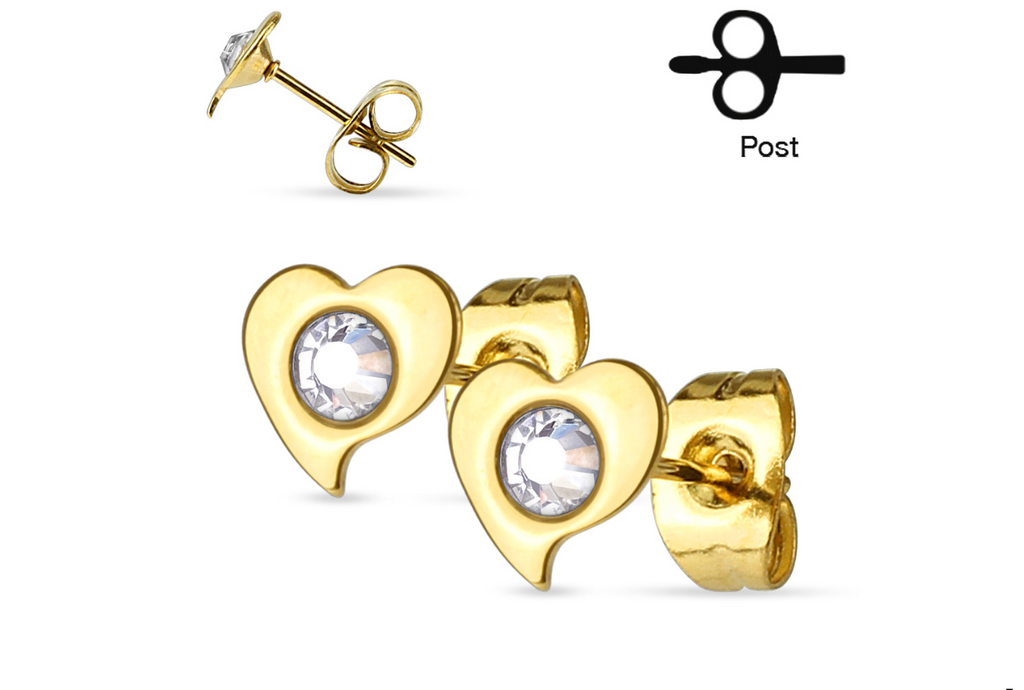 Children's and Teens' Earrings:  Surgical Steel, Gold IP Heart/CZ Studs