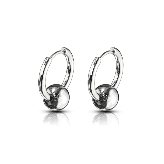 Children's, Teens' and Mothers' Earrings:  Surgical Steel Hoops with Floating Ball