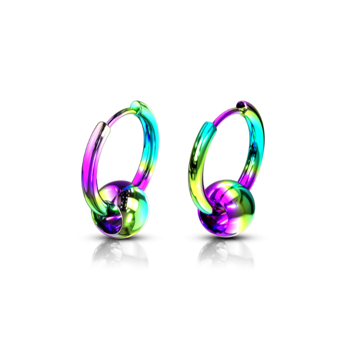 Children's, Teens' and Mothers' Earrings:  Anodised, Rainbow Surgical Steel Hoops with Floating Ball