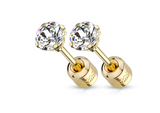 Children's, Teens' and Mothers' Earrings:  Surgical Steel, Gold IP, 4mm Round CZ Studs with Screw Backs