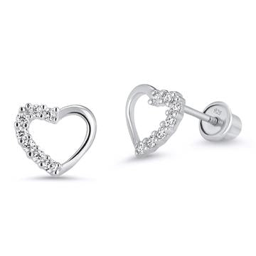 Children's Earrings:  Sterling Silver Heart Earrings with CZ and Safety Screw Backs