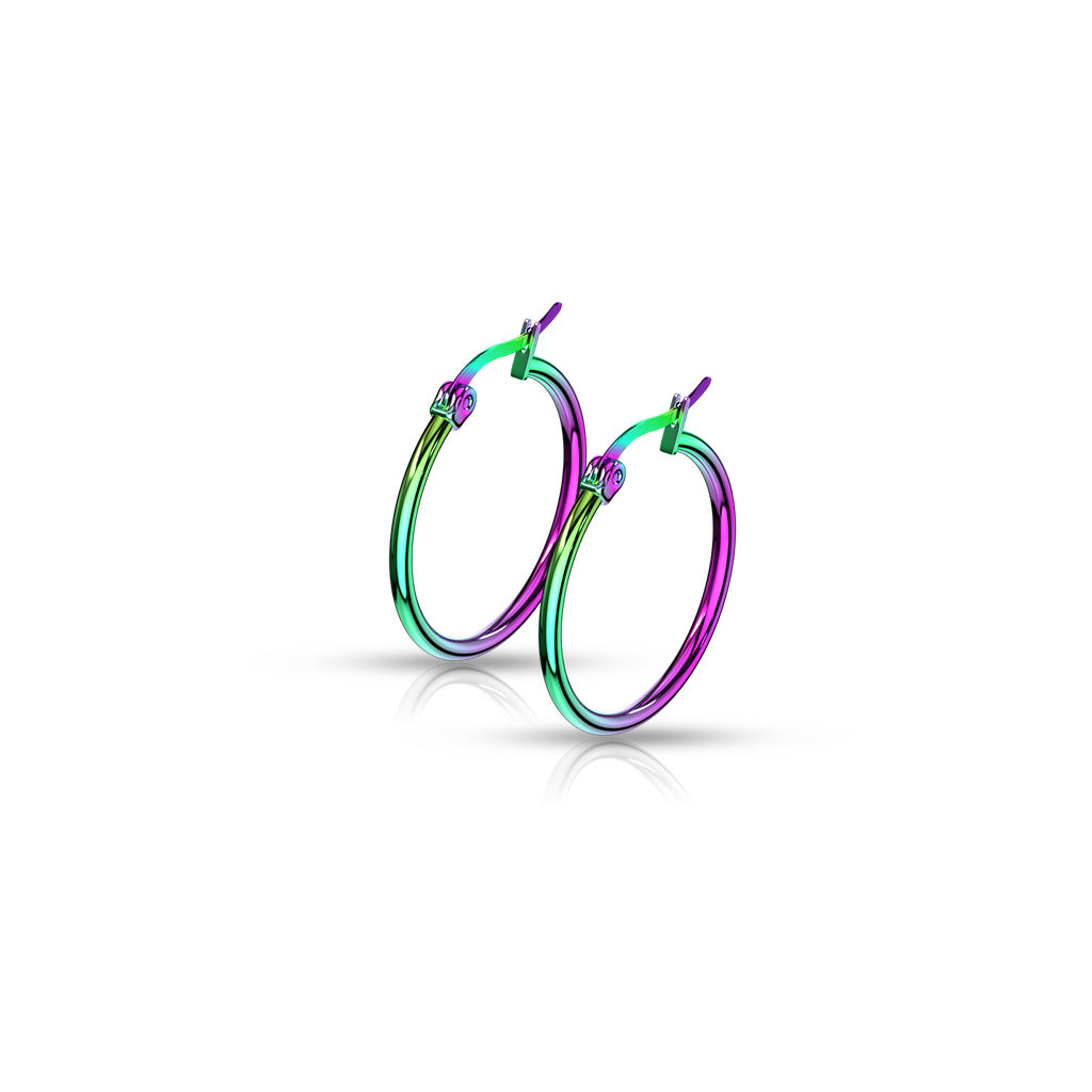Children's, Teens' and Mothers' Earrings:  Anodised Surgical Steel Hinged Hoops 15mm