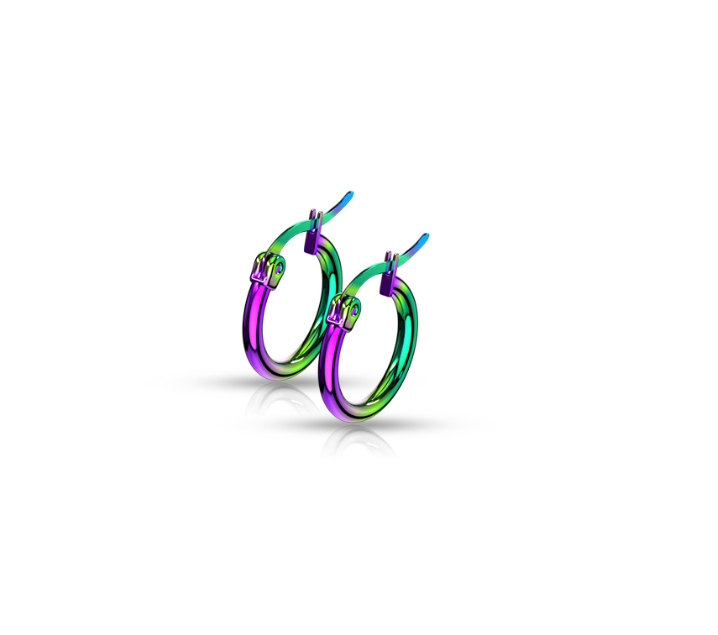 Children's Earrings:  Anodised Surgical Steel Rainbow Hinged Hoops 10mm