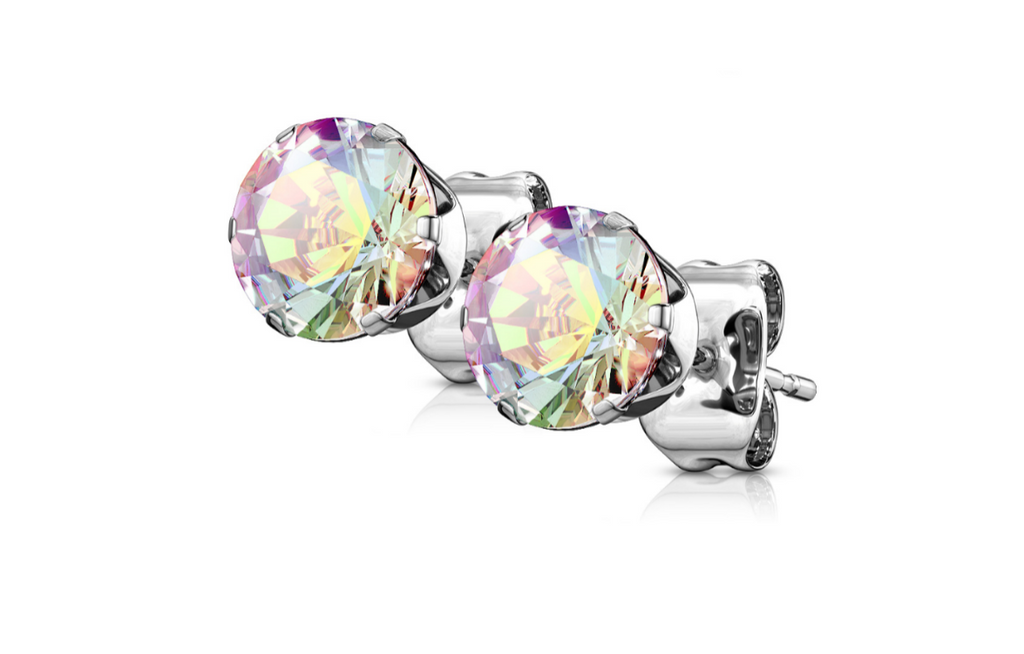 Children's, Teens' Mothers' Earrings:  Surgical Steel AAA Aurora Borealis CZ 6 Prong Studs 5mm