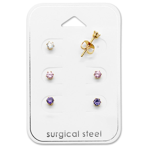 Baby and Children's Earrings:  Surgical Steel, Gold IP, 3mm AAA CZ Studs Gift Pack
